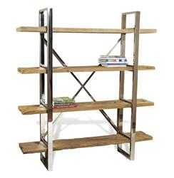 Hatcher Modern Rustic Reclaimed Wood Polished Silver Bookshelf | 185046