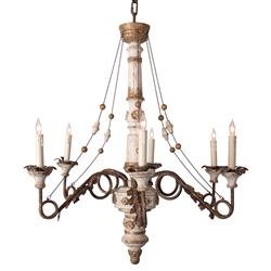 Agathe French Antique Metal Cream Chained 6-Light Chandelier