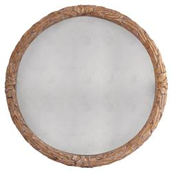 Cyprien French Country Gold Floral Engraved Round Wall Mirror - 40D