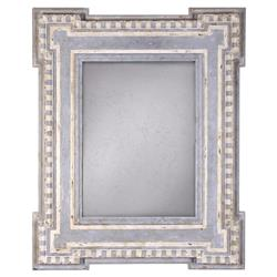 Narcisse French Country Cream Blue Striped Frame Wall Mirror