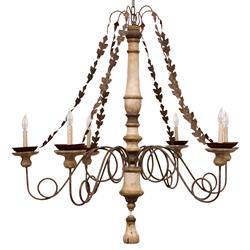 Galicia French Antique Brass Metal Leaf Chain 6-Light Chandelier