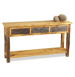 Fyde Peak Rustic Reclaimed Wood Lodge Cabin Console | 185056