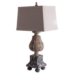 Betina French Country Antique Black Petal Table Lamp