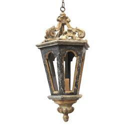 Harrietta French Charcoal Gold Carved Lantern Pendant Light - 32H