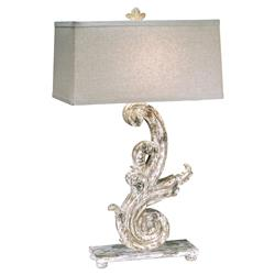 Corinna French Country White Wash Carved Scroll Table Lamp