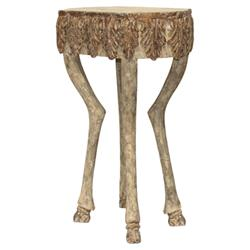 Aslan French Brown Stag Leg Leaf Engraved Stone End Table - 30.5H