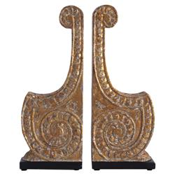 Elli Global Bazaar Antique Gold Carved Bookends - Pair