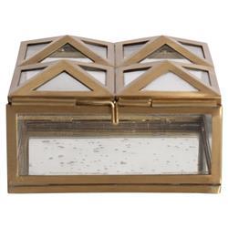 Meade Regency Antique Gold Pyramid Glass Decorative Box - 4.5W