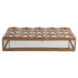 Meade Regency Antique Gold Pyramid Glass Decorative Box - 11W