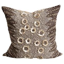 Dian Global Brown Ivory Beaded Flower Decorative Pillow - 22x22
