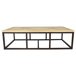 Normand Industrial Loft Masculine Wood Iron Coffee Table