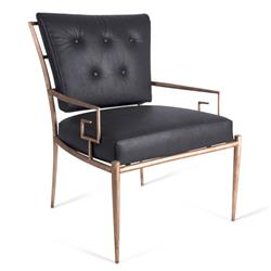 Lilibeth Regency Gold Metal Grey Leather Armchair
