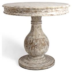 Elenora Country White Distressed Round Pedestal Table