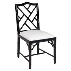 Berkshire Regency Laquer Chippendale Side Chair - Black