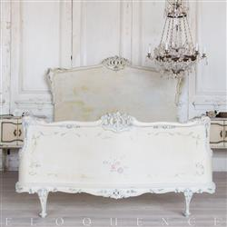 Eloquence® French Vintage Ivory Carved Handpainted Floral Bed