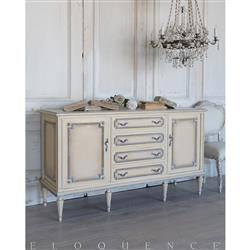 Eloquence® French Vintage Cream Cabriole Wood Vintage Sideboard