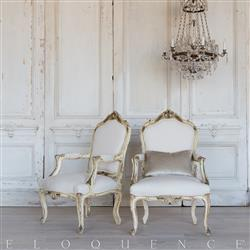 Eloquence® French Pair of Vintage Cream Shell Carved Armchairs