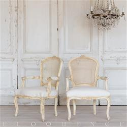 Eloquence® French Pair of Vintage Cream Cane Back Armchairs