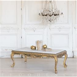 Eloquence® French Vintage Gold Cabriole Marble Coffee Table