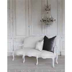Eloquence® French Vintage White Serpentine Upholstered Settee