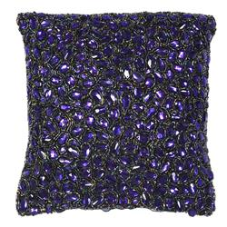 Jessica Indigo Blue Jeweled Hand Beaded Pillow - 10x10