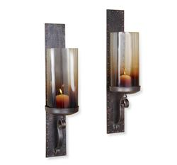 Pair Kendall Hammered Iron Lodge Rustic Hurricane Candle Sconces | 518089