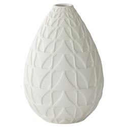 Bess Modern Matte White Geometric Texture Egg Porcelain Vase