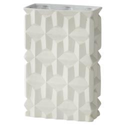 Modern Matte White Geometric Texture Rectangular Porcelain Vase