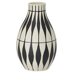 Aleida Ivory Black Geometric Leaf Pattern Ceramic Vase