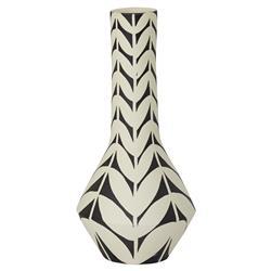 Aleida Ivory Black Geometric Leaf Tall Neck Ceramic Vase