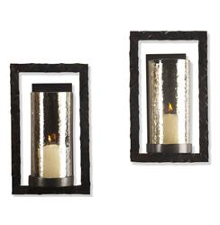 Pair Tomar Contemporary Oiled Bronze Rectangle Wall Sconce