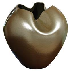Lenora Modern Metallic Organic Freeform Round Vase