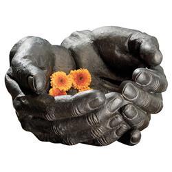Modern Cupped Hands Dark Grey Iron Oversized Decorative Bowl