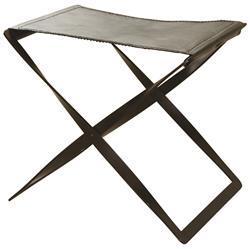 Isabel Modern Classic Brown Leather Seat Iron Frame Folding Stool