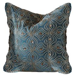 Azura Global Bazaar Blue Gold Beaded Pillow - 20x20
