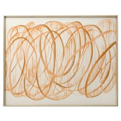 Brodee Modern Silk Graffiti Calligraphy Painting - Orange