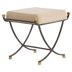 Arteriors Felice Iron Brass Linen Contemporary Bench - 19.5W