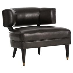 Laurent Modern Dark Grey Rounded Leather Chair