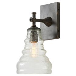 Arteriors Madeline Industrial Seeded Glass Antique Iron Sconce
