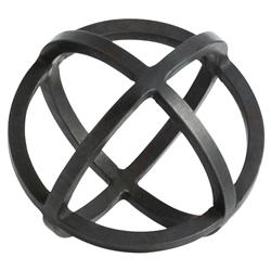 Simple Sphere Industrial Black Iron Sculpture - 7D