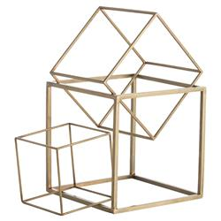 Cube Trio Modern Brass Iron Sculptures - Set of 3