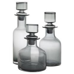 Arteriors O'Connor Modern Smoked Glass Decanters - Set of 3