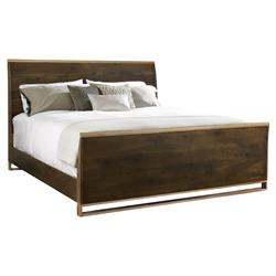 Caracole Night Cap Rustic Wood Modern Brass Sleigh Bed - Queen