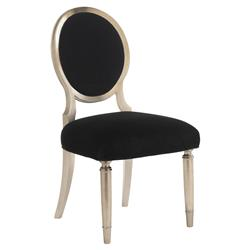Caracole Chit-Chat Hollywood Silver Leaf Black Side Chair