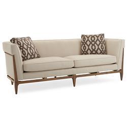 Clifford Modern Craftsman Walnut Wrap Beige Sofa