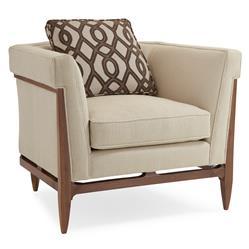 Clifford Modern Craftsman Walnut Wrap Beige Armchair