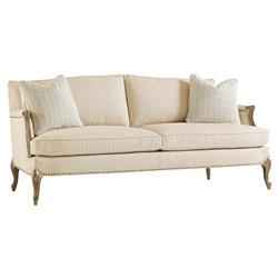 Osie French Beige Herringbone Antique Gilt Sofa