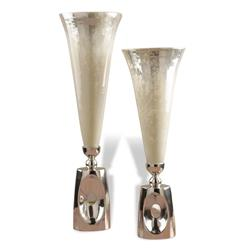 Wooster Hollywood Regency Style Mercury Glass Silver Vases | 955060