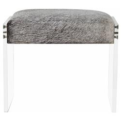 Interlude Aiden Modern Grey Hide Acrylic Stool