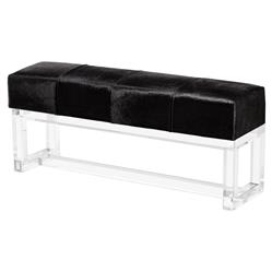 Elinor Modern Acrylic Black Hide Bench